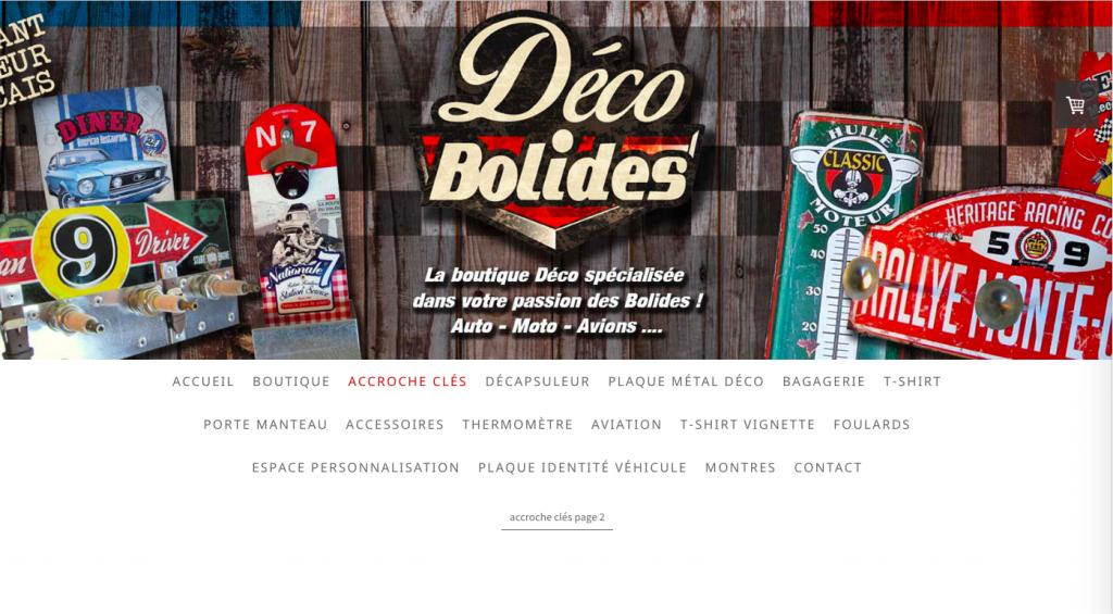 Site internet Déco bolides